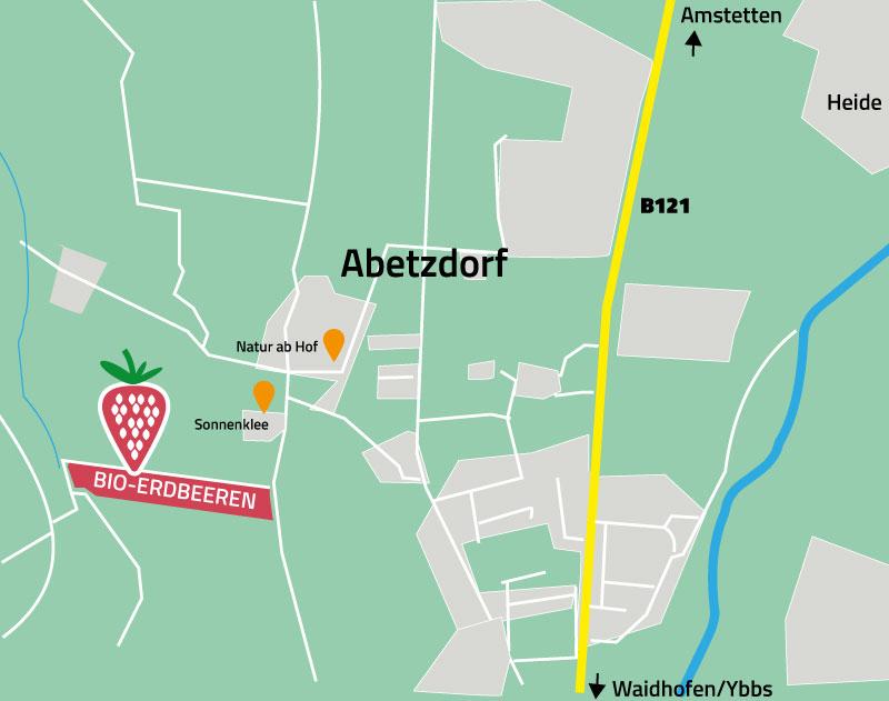 Karte Abetzdorf mit eingezeichneten Erdbeerfeld der Familie Matzenberger: Natur ab Hof