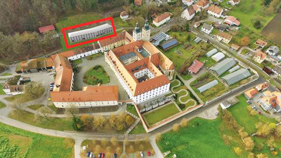 Luftaufnahme Kloster Plankstetten - Markierung Holzstrohhaus