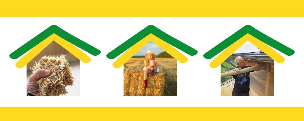 Strohbau Collage hand mit Einblasstroh Kind auf Strohballen Arbeiter blaest Einblasstroh ein
