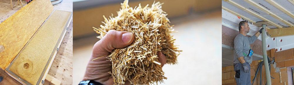Fotos Einblasdaemmung Biostroh, in Hand, beim Einblasen