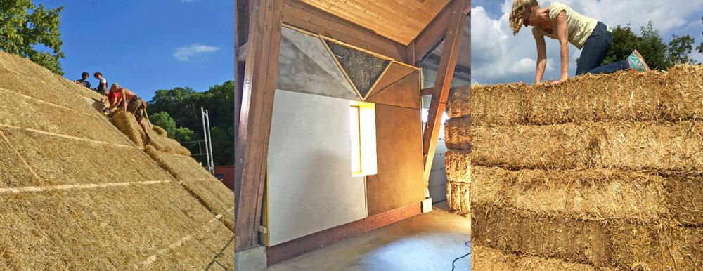 Baustrohballen im Einsatz Daemmung Dach, lehmverputzte Wand, lasttragender Bau