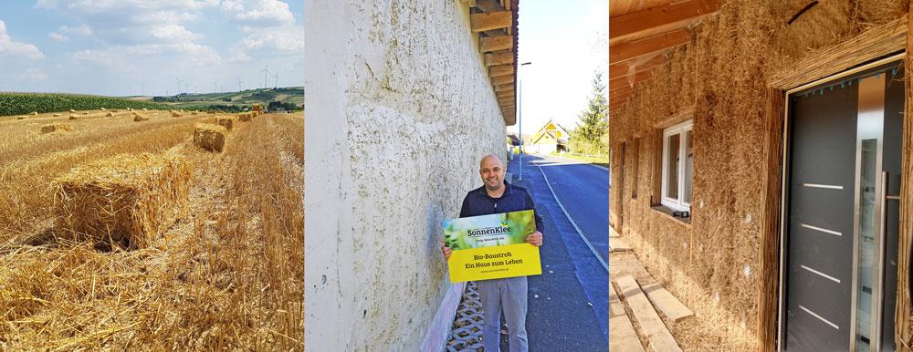 Baustrohballen am Feld, Martin Matzenberger vor lehmverputzter Wand, Baustrohballen zur Fassadendaemmung