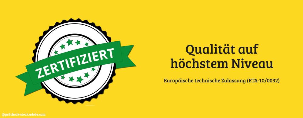 Icon Zertifiziert auf gelben Hintergrund