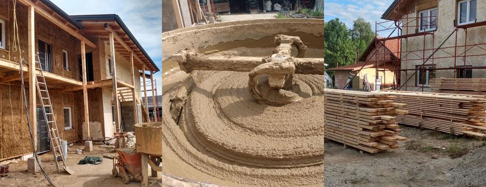 Strohhaus mit Lehm verputzt