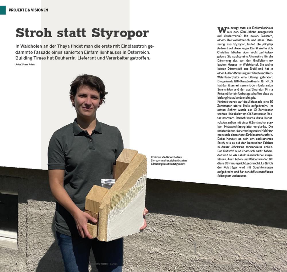 Artikel Building Times  Stroh statt Styropor